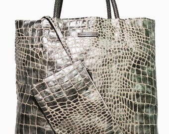 Silver Italian Embossed Linen Tote; Grey Braided Leather Handles; Shopper for Nights Out or Daily Use!
