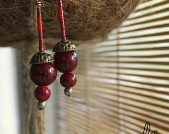 Earrings ethnic • red marbled stone and Miyuki jewelry Boho • creative • •