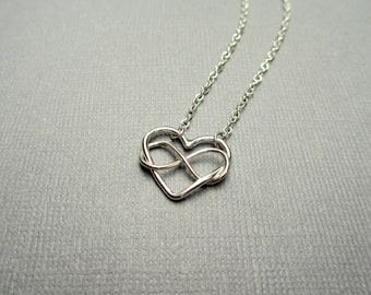 Infinity Heart Necklace, Sterling Silver, Intertwined Heart & Infinity Link Necklace, Dainty, Wedding, Valentine, Sisters, Gift Under 45