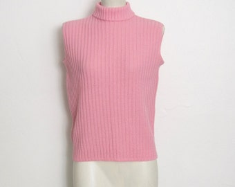 SWEATER SALE Vintage 1960s Penney's Sleeveless Sweater / Pink Ribbed Acrylic Knit Pullover / 60s Shell Sweater w/ Turtleneck