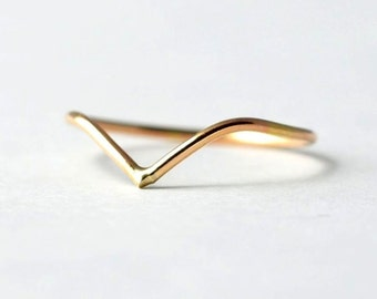 Midi Chevron Ring: Gold Filled Gift for Teens