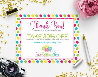 30% OFF SALE Thank You Card - Business Thank You Card - Promotional Card - Branding - Packaging - Etsy Shop Cover Knitting - 2-1