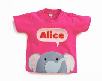 Organic Baby Elephant T-Shirt : Baby Girl Personalized Elephant T-Shirt , Baby Shower, Baby Girl
