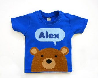 Organic Teddy Bear T-Shirt : Baby Boy Bear T-Shirt , Boy Baby Shower, New Baby Boy