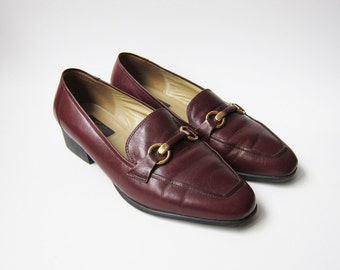 Vintage 1980s Shoes / Oxblood Leather Gucci Style Loafers Shoes / Size 9 Wide Women / Size 9.5