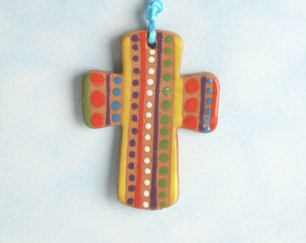 Small Red Clay Cross, Handmade Ceramic Cross, Confirmation Cross, Christian Ornament, Baptism Cross, Christening Favors