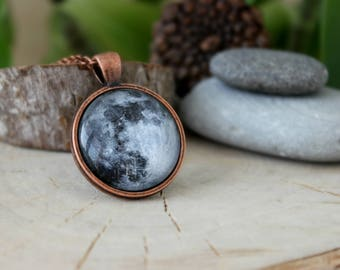 Moon Necklace, Antique Copper Pendant,Glass Cabochon Pendant With Chain