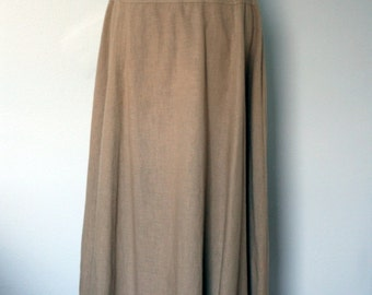 Vintage Skirt / 90's Todd Oldham times seven Cotton Linen Maxi Skirt / Medium / Tan Long Skirt / 1990's Women's Designer Clothing / Minimal