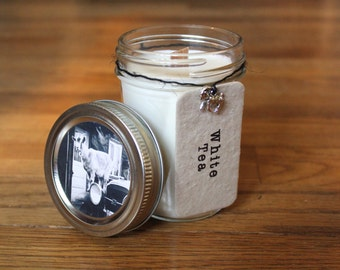 White Tea Soy Candle - Plantable Tag - Soy Wax - Wood Wick - Wildflower Seed Tag - 8 oz. Soy Candle - Goat