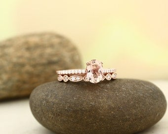 AAA Morganite Engagement Ring Set , Diamond Wedding Ring Set  with Art deco wedding band In 14k Rose Gold 8x6mm Oval Gem1403