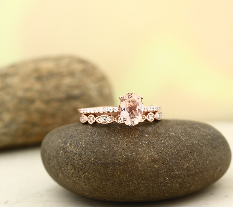 AAA Morganite Engagement Ring Set , Diamond Wedding Ring Set with ...