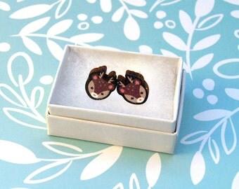 Wood Deer Earrings - Wooden Earrings / Cute Deer Earrings / Deer Antler Jewellery / Wood Animal Earring / Wood Post Earring / Cartoon Deer