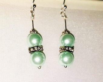 Sea Foam Green Pearl Earrings, Bridal Jewelry, Swarovski Pearl Earrings, Wire Wrapped Earrings, Night Out Earrings, Pale Green Earrings