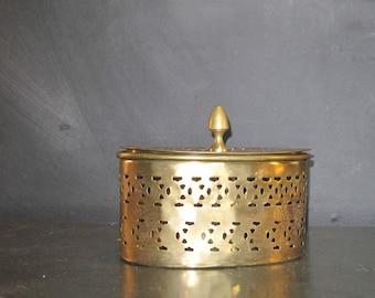 Vintage Oval Brass Trinket Box-Pierced Brass-Fretwork