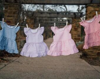 KHAKI Girl's Custom Seersucker Monogram Dress - Girl's Summer outfit - Monogrammed - Birthday gift - Summer Dress