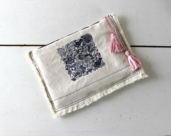 Embroidered Clutch,cotton canvas,birds embroidery,frayed edges,pink pom pom,Bridesmaid handbag,pouch. Rustic wedding, ethnic gift, eclectic.