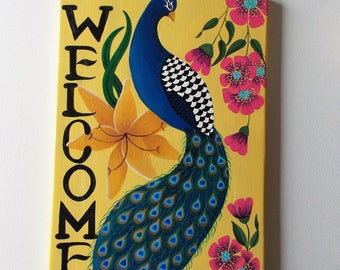 "Welcome Sign, Peacock Welcome Sign, Hand Painted Sign, Peacock Decoration, Welcome Door Art, Painted Decor, Wall Hanging, 18 1/2"" x 11 1/4"""