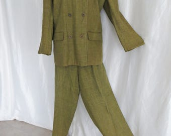 Vintage 80s womens pants suit, olive green brown plaid, office business, Plus size 22