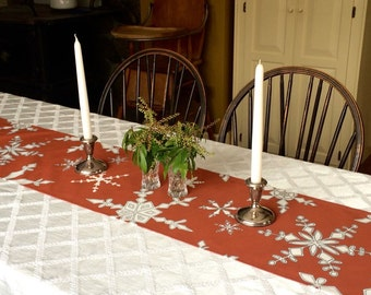 Table Runner, Snowflakes, Christmas, Cinnamon Red, White, Table Decoration, Holiday Home Decor,  Linen Runner, Cotton, Table Decor,