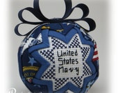Military Quilted Keepsake Ornament - Navy