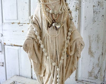 Large distressed Mary statue plaster ivory shabby cottage chic antique Madonna figure crown halo set French Nordic decor anita spero design