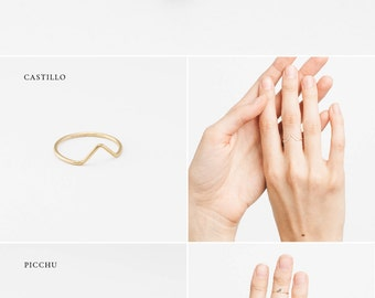 Points Collection Stacking Rings • Triangle Stacking Ring • Dainty Stacking Ring • Geometric Rings • Points Collection by Layered & Long