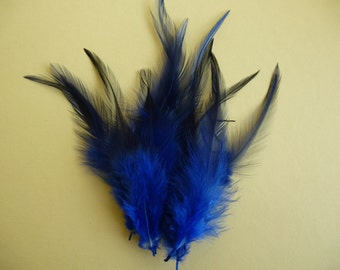Saphire blue feathers.   dyed rooster feathers.   3-5inches.  8-13cm hatmaking, cardmaking, scrapbook, millinery
