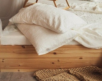 Linen PILLOW CASE Softened linen bedding Pre washed linen pillowcase SLIP Antique white color in Queen King Standard sizes body pillow cover