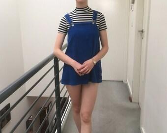 Royal Blue Corduroy Overalls Babydoll Dress