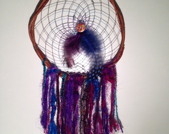 Large dream catcher, handmade, purple and blue weave, feathers and button detail, silk trails