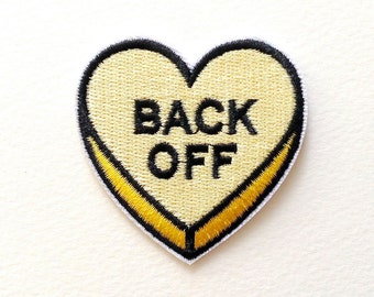 Back Off Heart Embroidered Iron On Patches - 52mm - DIY - Applique - Words - Light Yellow - Yellow