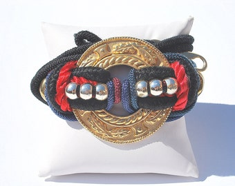 Vintage 80s Black Red Gold Rope Cord Gold Fabric Belt with Gold Metal Buckle