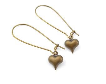 Long Minimalist Love Heart Drop Earrings in Antique Bronze