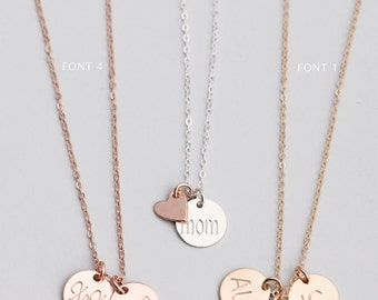 Personalized Monogram Necklace, Family Tree Necklace, Bridesmaid Jewelry, Custom Disk Necklace, Custom Hand Stamped, Mom Necklace [9mm]