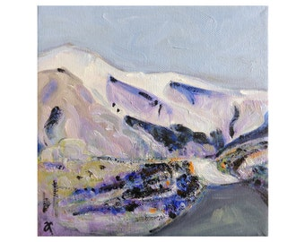 New Zealand landscape painting, mountains and roads, small square painting on canvas, scenic landscape, NZ artist, 8 x 8, free shipping