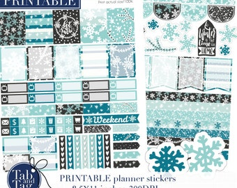 January snow PRINTABLE stickers for use with Erin Condren planner. Winter weekly kit. Snow, snowflake, printables, pine trees and tassels.