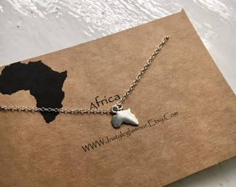 Africa Necklace, African Necklace, Continent Necklace, Africa Charm Necklace, Continent Jewelry
