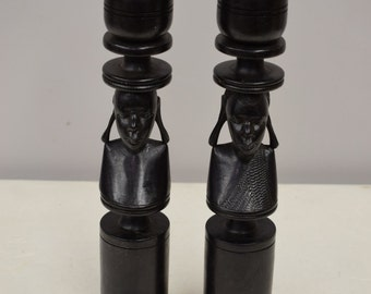 African Candle Holders Pair Ebony Male Female Sculpture Tanzania Handmade Couple Ebony Candle Holders
