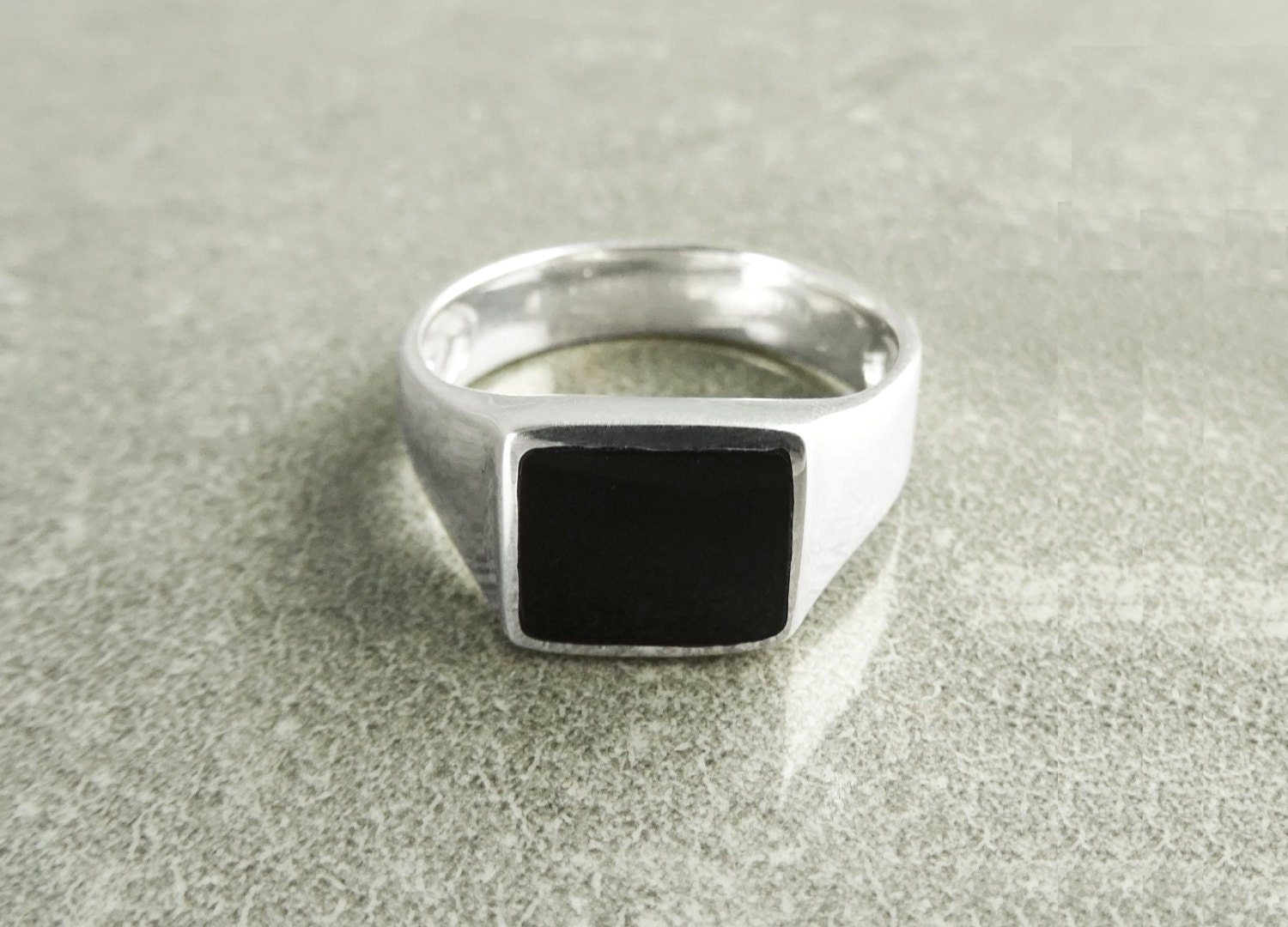 onyx signet ring sterling silver ring signet ring