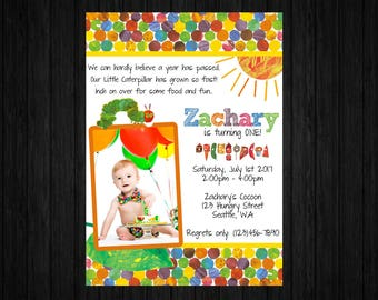 Hungry Caterpillar Invitation ONLY, Hungry Caterpillar Birthday, Hungry Caterpillar Thank You, Hungry Caterpillar Party Supplies