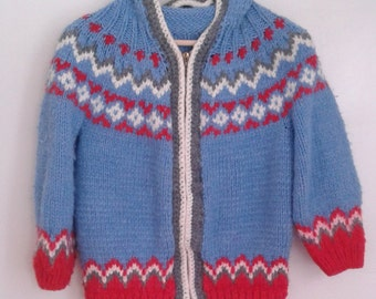 Vintage 1940's Kids' Hand Knit Red Baby Blue Wool Fair Isle Hooded Cardigan Sweater Sz Large XL Rustic