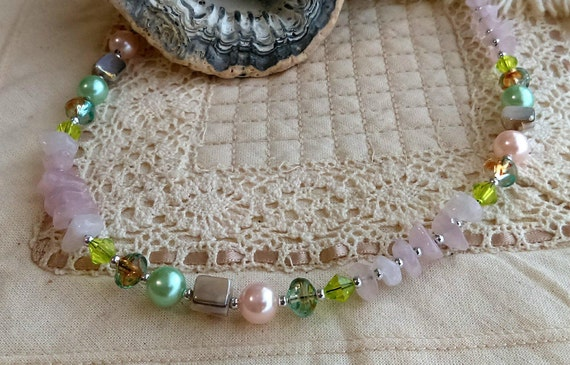 Pale Pink Rose Quartz Crystal, Beaded Necklace, Stainless Chain, Green Glass Crystal Beads, Pearls, Acrylic, Stainless Chain, Shell, Beads,