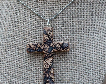 Wood Cross Necklace, Cross pendant, Wooden Cross, Red Oak, Woodburned, All natural, beeswax stain, Faith jewelry, Easter jewelry, OOAK