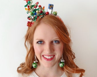 christmas tree headband, christmas headband adult, ugly Christmas sweater party, tacky sweater party, christmas hair accessories, bells