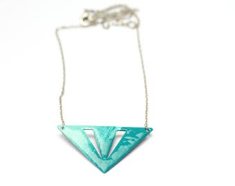 Chain triangle metal blue/turquoise