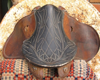 Vintage Buena Vista Saddle/ Plantation Saddle/ Leather Objects/ Cowboy Decor/ Country Western Cabin Decor