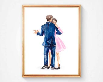 Watercolor digital print, dancing in love, printable art, pink, digital wall art, instant download, gift, home decor