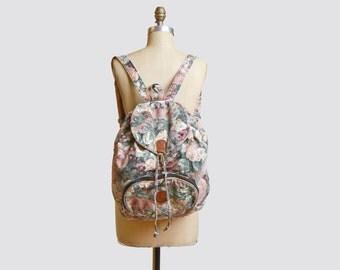 Vintage 90s Floral Canvas BACKPACK Jordache / 1990s Grunge Floral Print Drawstring Daypack School Bag PURSE