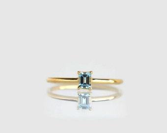 aquamarine ring, emerald cut engagement ring, March birthstone, aquamarine engagement ring, aquamarine ring gold