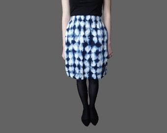 Vintage silk skirt , blue white skirt, blue silk skirt, knee length skirt, A line silk skirt, XS size, evening luxury silk skirt